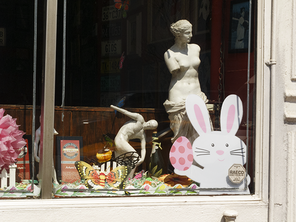 easter bunny and statues